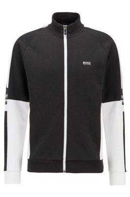 Zip-through sweatshirt in double-faced fabric, Black