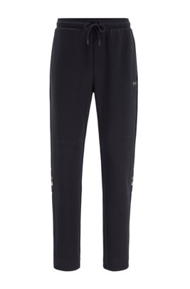 Jogging pants in double-faced jersey with drawstring waistband, Dark Blue