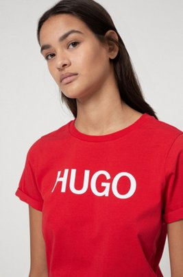 Logo-print T-shirt in sustainable stretch jersey , light pink