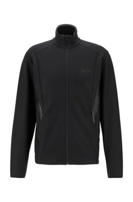 Zip-through sweatshirt in active-stretch S.Café® fabric, Black