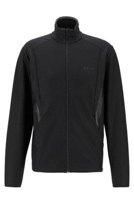 Zip-through sweatshirt in active-stretch S.Café® fabric, Black