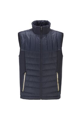 Water-repellent down gilet with stand collar, Dark Blue
