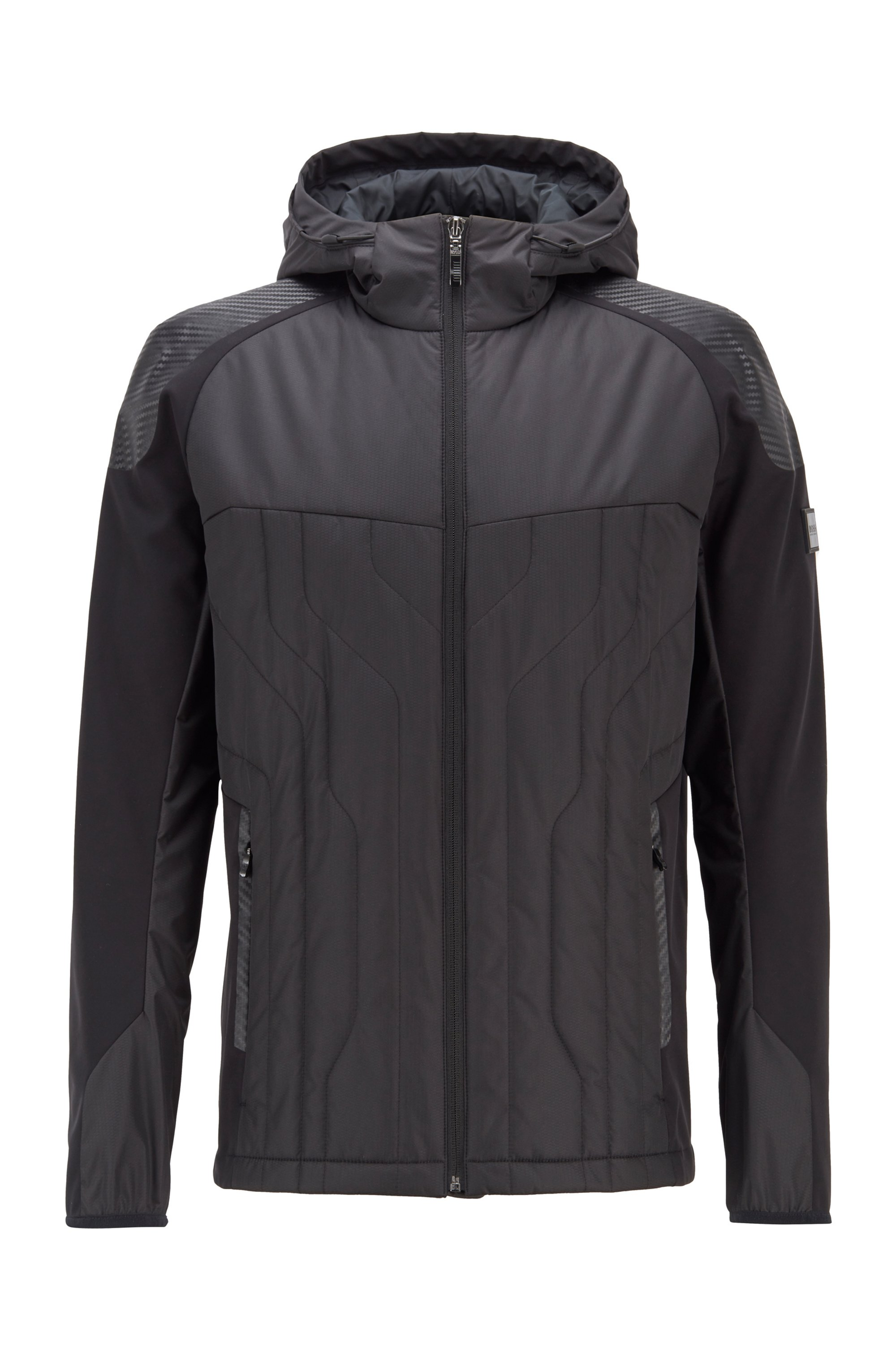 Water-repellent padded jacket with carbon-inspired details, Black