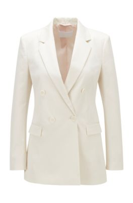 Double-breasted regular-fit jacket in washed stretch cotton, White