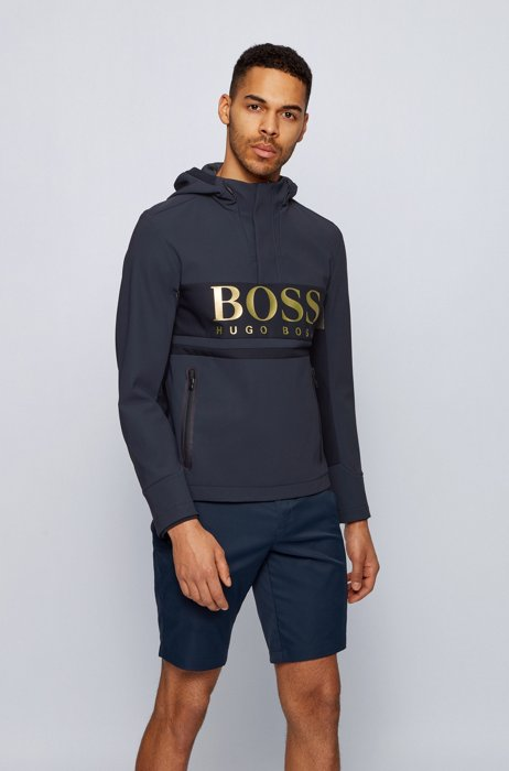 Water-repellent hooded jacket with large-scale logo print, Dark Blue