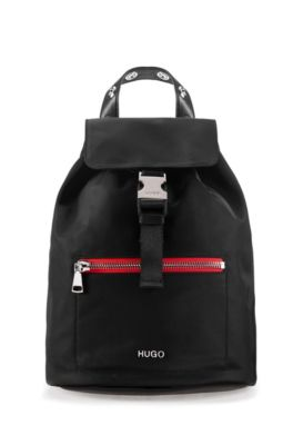 Nylon-gabardine backpack with contrast zipper detail, Black