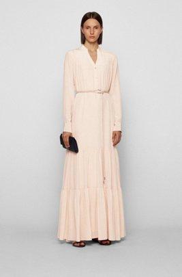 Silk maxi dress with voluminous skirt, light pink