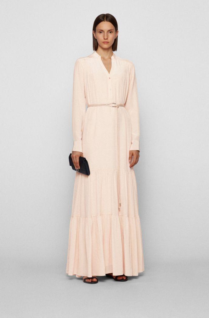 Silk maxi dress with voluminous skirt