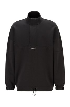 Zip-neck relaxed-fit sweatshirt in a cotton blend, Black