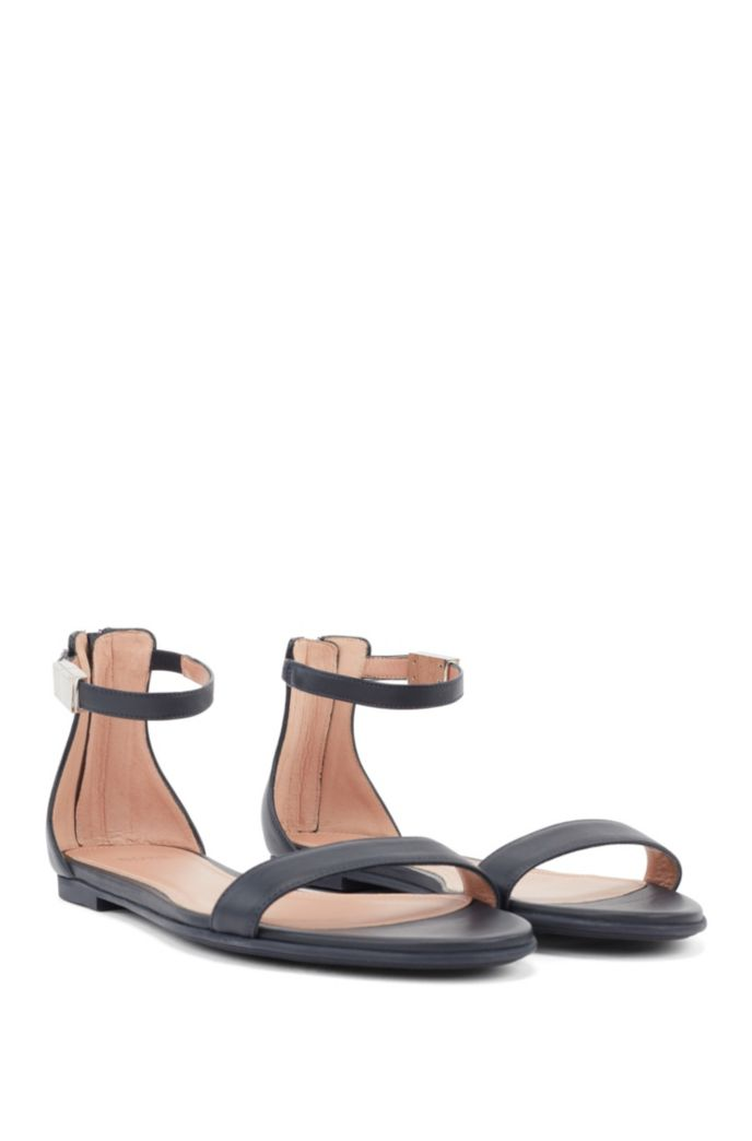 Italian-made sandals in calf leather with ankle strap