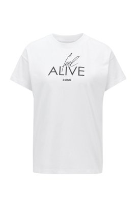Cotton-jersey top with collection-themed slogan print, White
