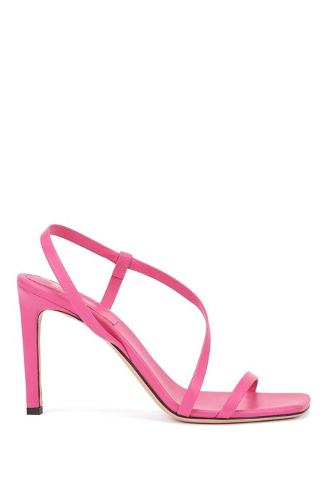 High-heeled sandals in nappa leather with asymmetric strap, Pink