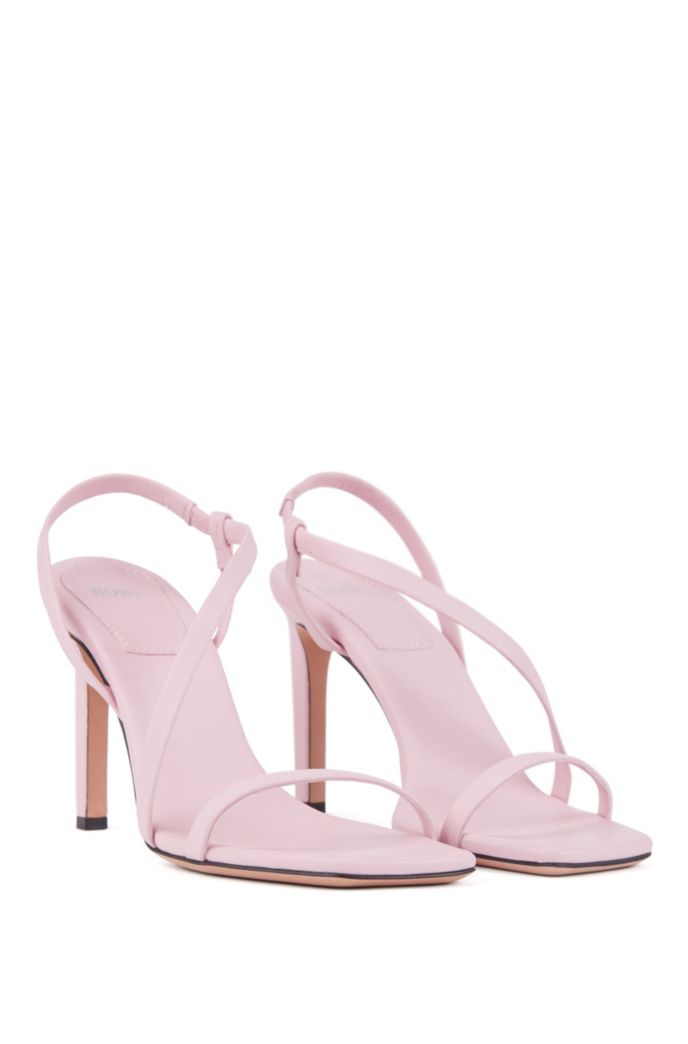 High-heeled sandals in nappa leather with asymmetric strap
