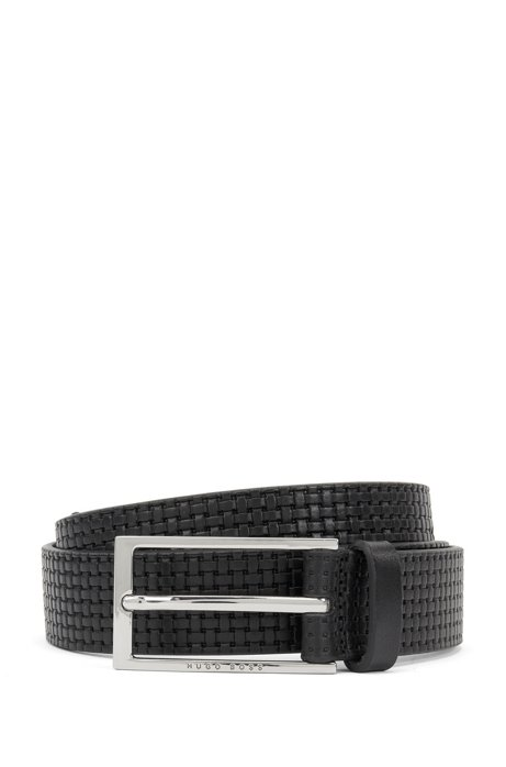 Pin-buckle belt in leather with embossed woven effect, Black