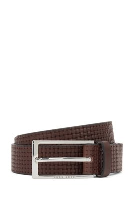 Pin-buckle belt in leather with embossed woven effect, Dark Brown