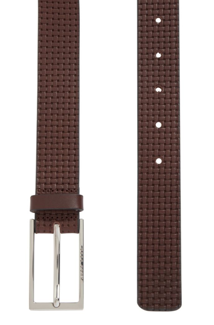 Pin-buckle belt in leather with embossed woven effect