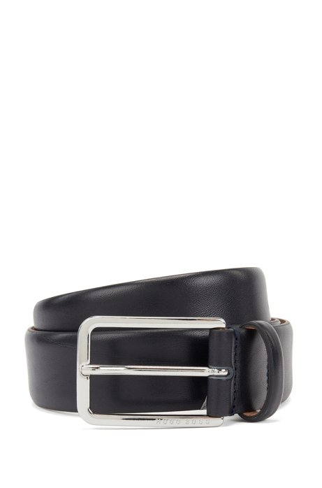 Italian-made belt in vegetable-tanned leather, Dark Blue