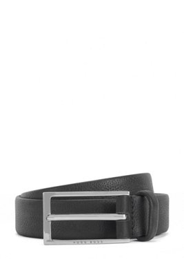Business belt in grained Italian leather, Black