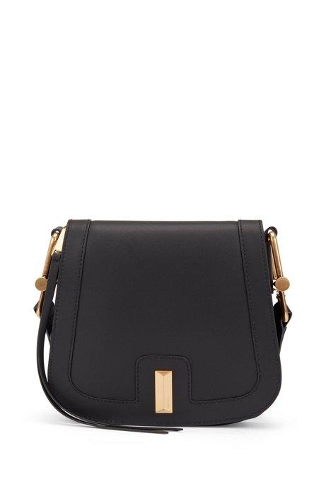 Italian-leather saddle bag with signature hardware, Black