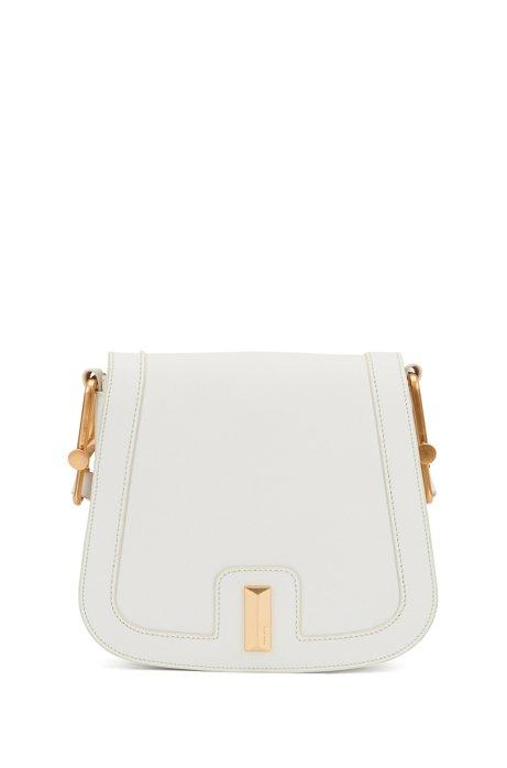 Italian-leather saddle bag with signature hardware, White