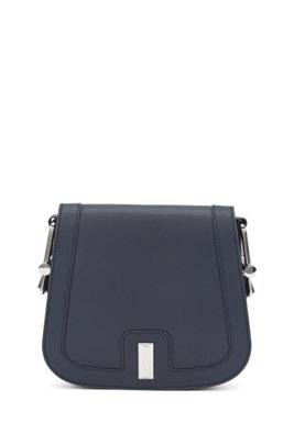 Italian-leather saddle bag with signature hardware, Dark Blue