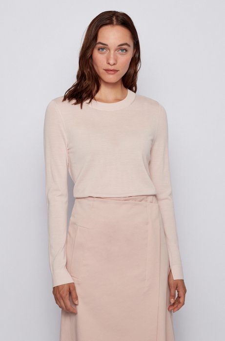 Crew-neck sweater in super-fine merino wool, light pink