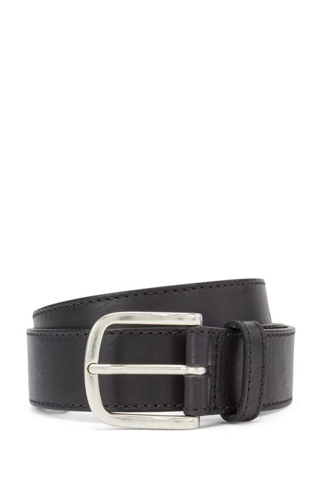 Pin-buckle belt in vegetable-tanned Italian leather, Black