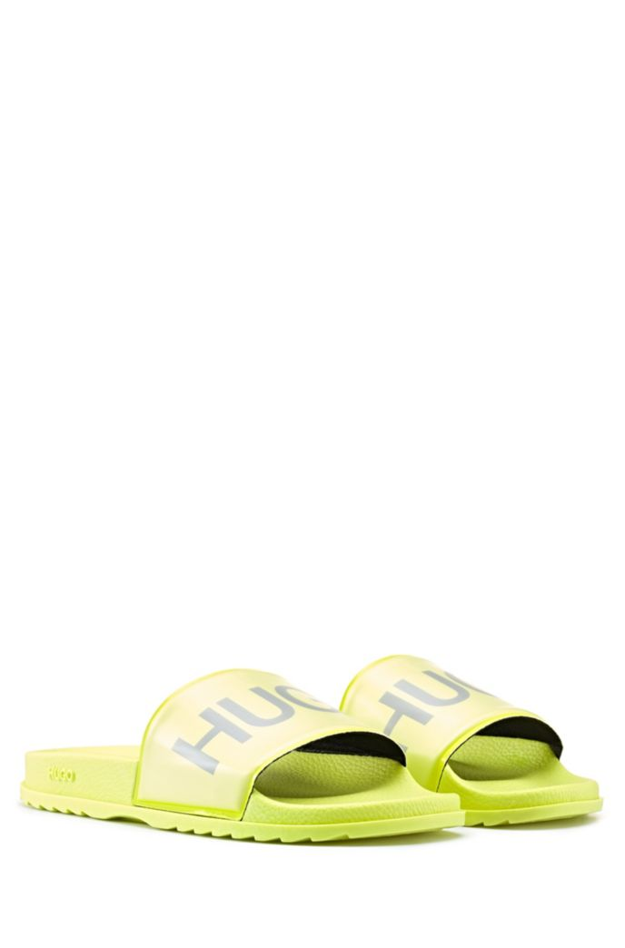 Logo-print slides with contoured footbed