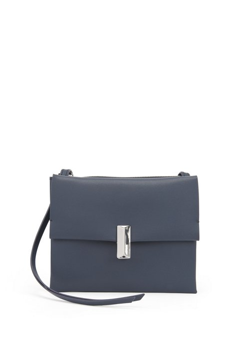 Cross-body bag in coated leather with pyramid hardware, Dark Blue
