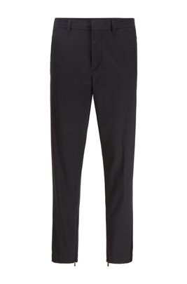 Tapered-fit pants in stretch fabric with zipped hems, Black