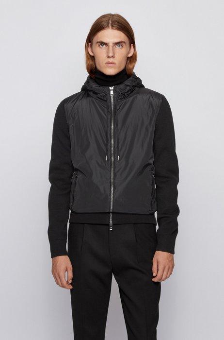 Hybrid hooded jacket in a wool-cotton blend, Black