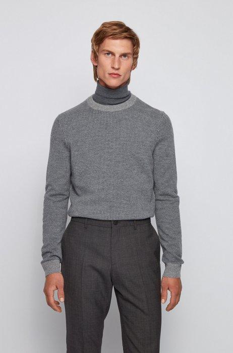 Slim-fit sweater in micro-houndstooth virgin wool, Silver