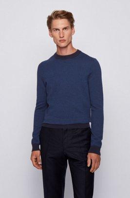 Slim-fit sweater in micro-houndstooth virgin wool, Dark Blue