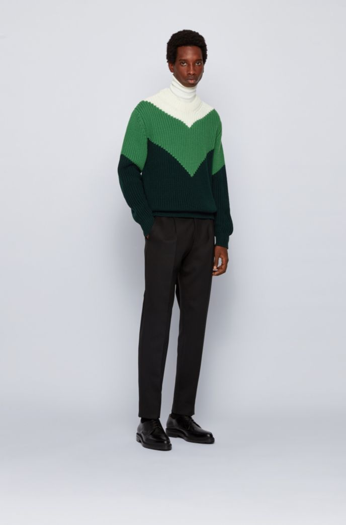 Virgin-wool sweater with chunky rib structure