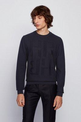 Micro-structured sweater in virgin wool with tonal monogram, Dark Blue
