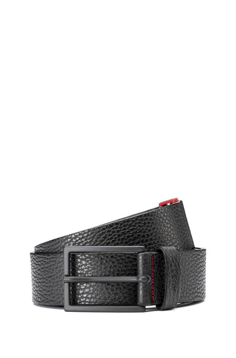 Grained-leather belt with zinc buckle and red detail, Black