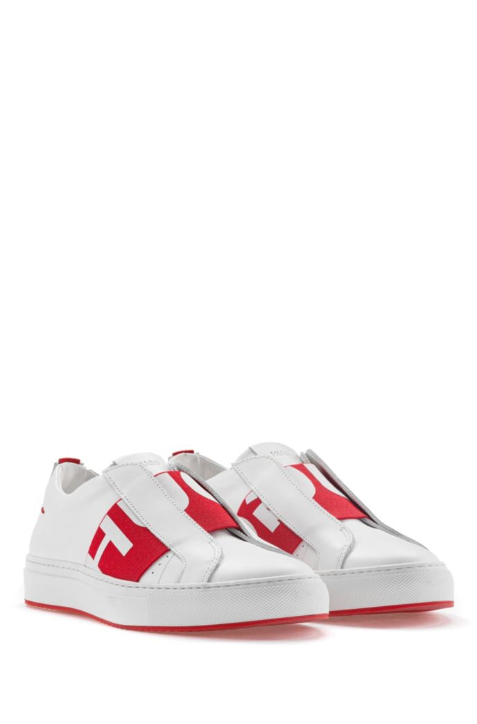 Slip-on leather trainers with logo band