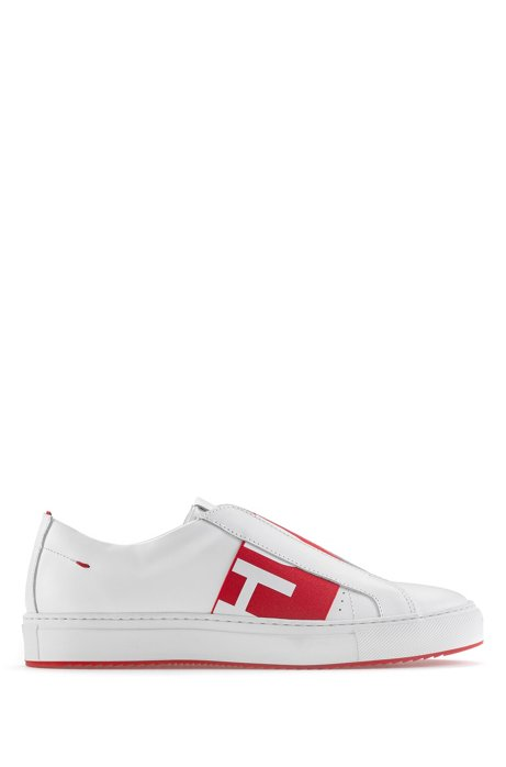 Slip-on leather trainers with logo band, Red