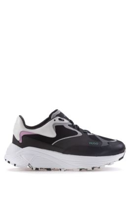 Mixed-material sneakers with Vibram sole, Black