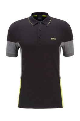 Interlock-cotton polo shirt with color-blocking, Black