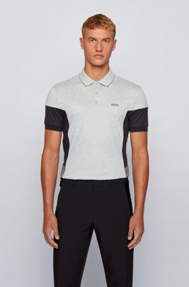 Interlock-cotton polo shirt with color-blocking, Light Grey