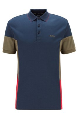 Interlock-cotton polo shirt with color-blocking, Dark Blue
