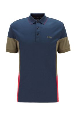 Interlock-cotton polo shirt with color-blocking, Dark Blue