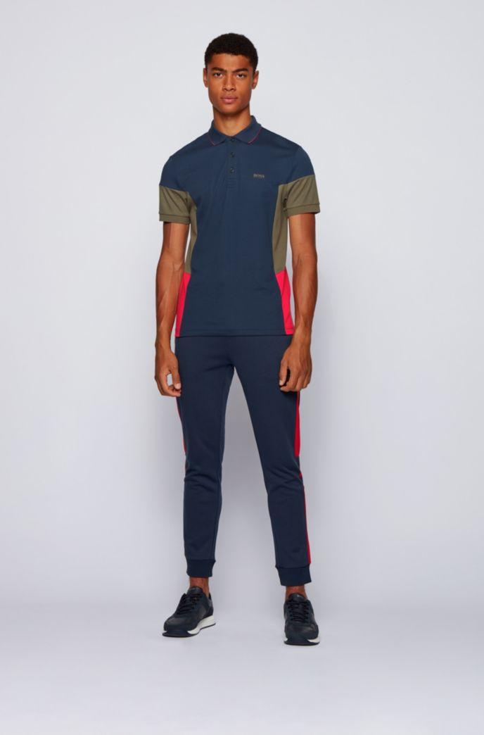 Interlock-cotton polo shirt with color-blocking