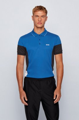 Interlock-cotton polo shirt with color-blocking, Light Blue