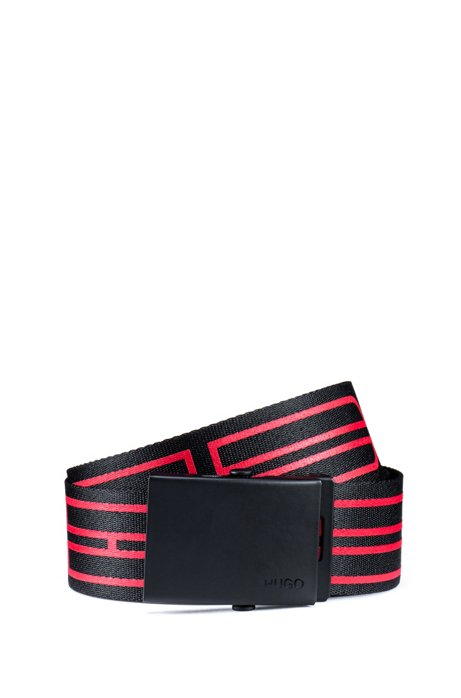 Italian-fabric belt with new-season logo motif, Black