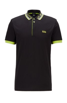 Cotton-piqué polo shirt with space-dye collar, Black