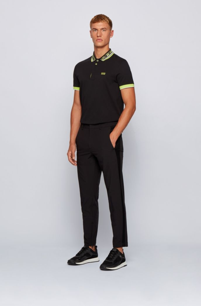 Cotton-piqué polo shirt with space-dye collar