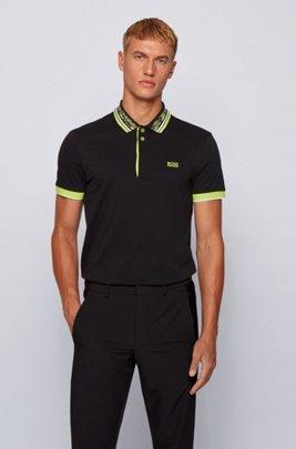 Cotton-piqué polo shirt with space-dye collar, Black