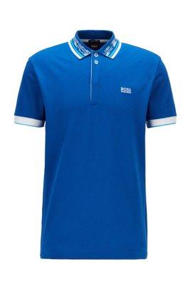 Cotton-piqué polo shirt with space-dye collar, Light Blue